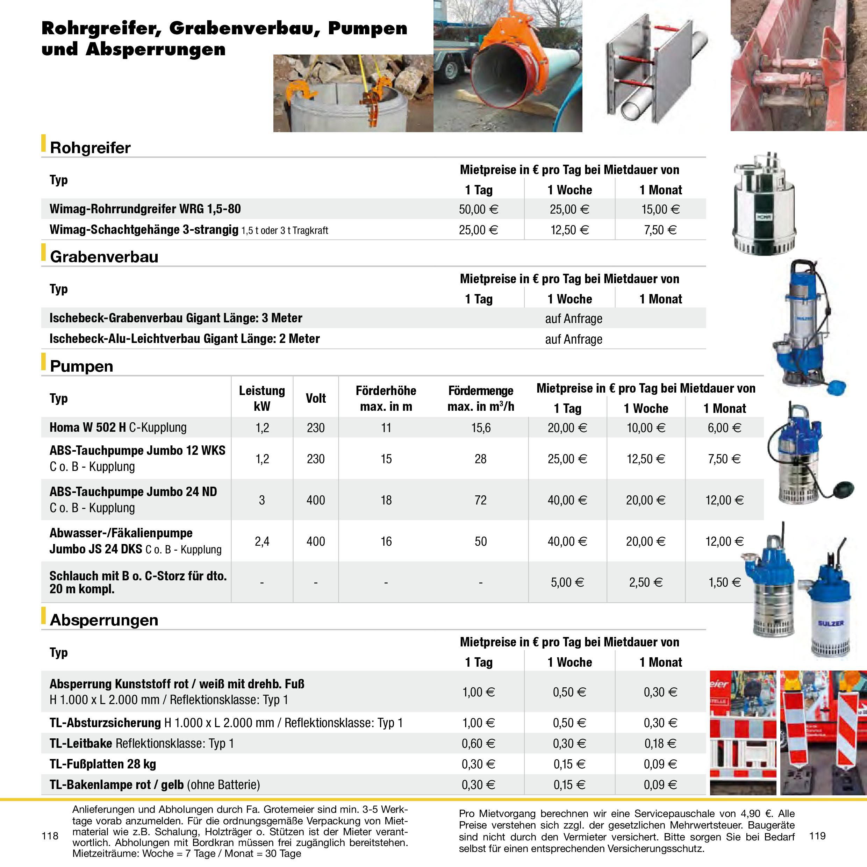 Rohrgreifer-Grabenverbau-Pumpen-Absperrungen-Miete